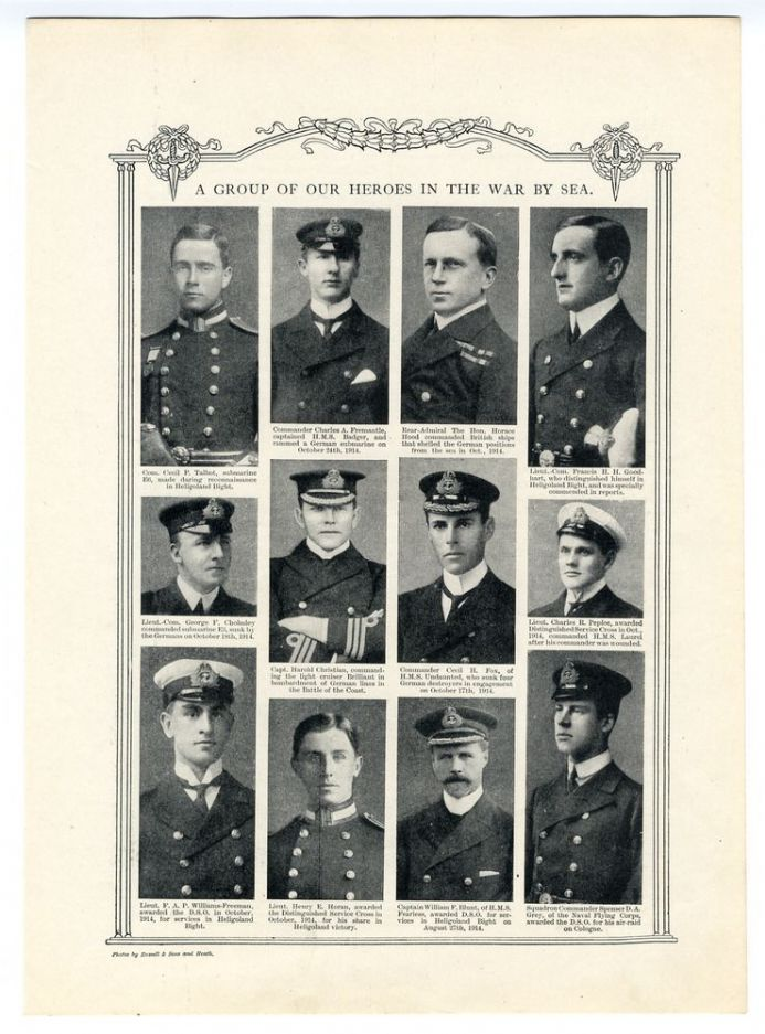 1914 WW1 PRINT Twelve Naval Heroes CECIL TALBOT Peploe HOOD Blunt HORAN Goodhart and Others
